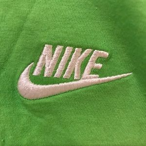 Nike Shirts - Nike Swoosh Embroidered Logo Neon Lime Green Shirt